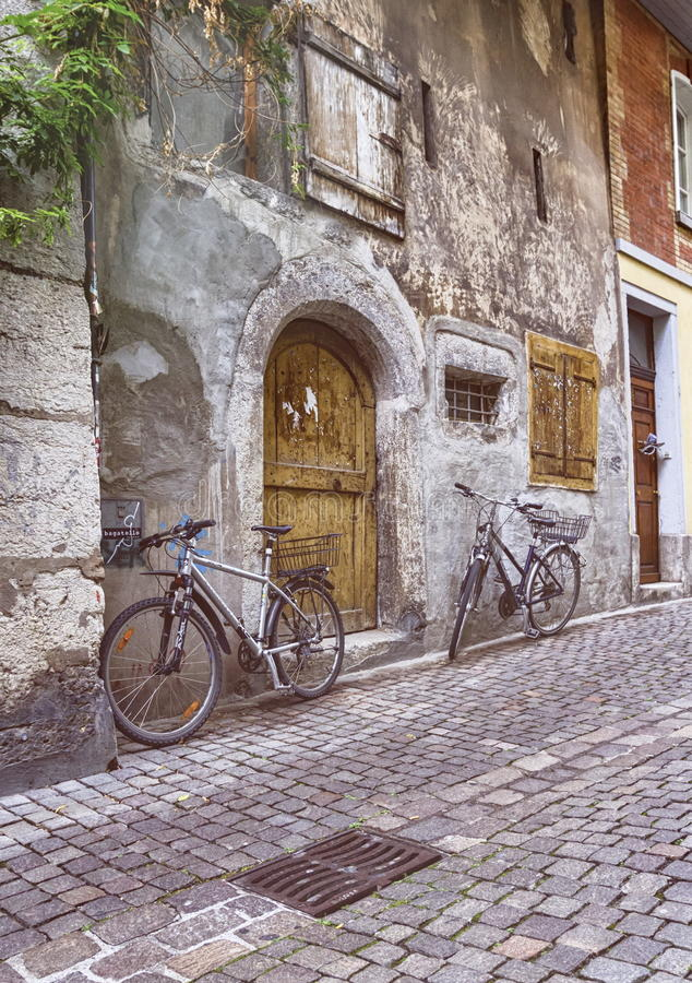Old street in Solothurn, Switzerland stock photo