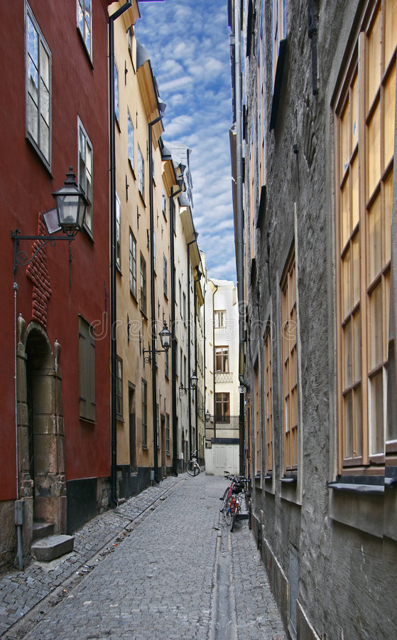 Old street in Stockholm royalty free stock image
