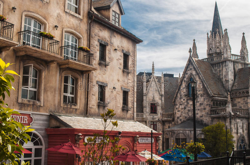 Old street. Old stone architecture in the medieval town stock images
