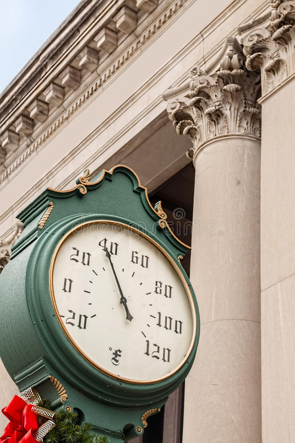 Old street thermometer royalty free stock photography