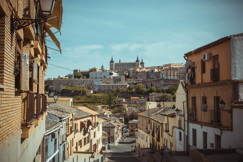 Old street in Toledo stock images