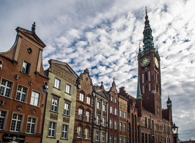 Old street and tower of cathedral. In Gdansk Poland stock photos