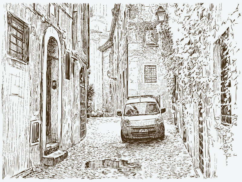 Old street. Vector image of an street of an old Mediterranean city stock illustration