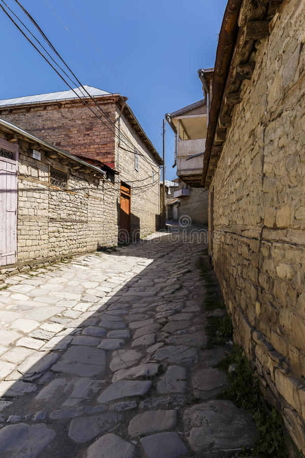 Old street in the village of Lahij Azerbaijan stock images