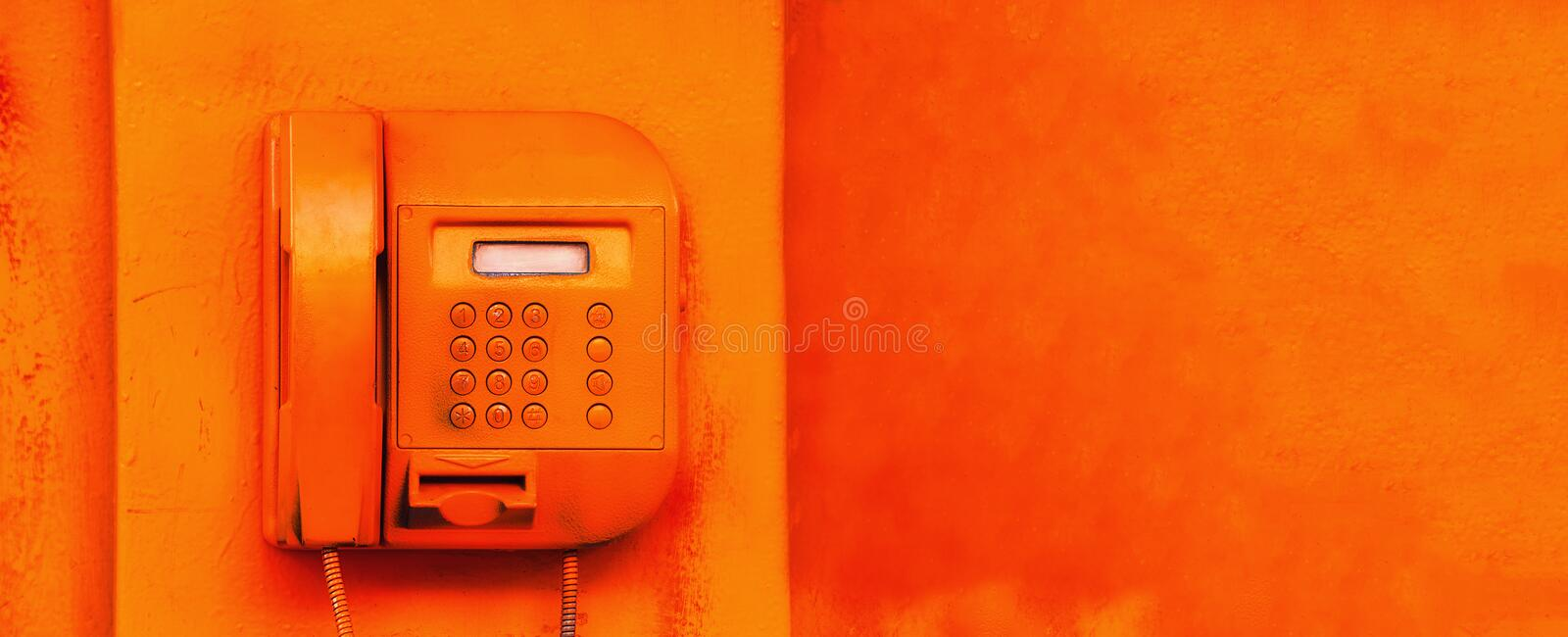 old street orange phone screen buttons royalty free stock photography