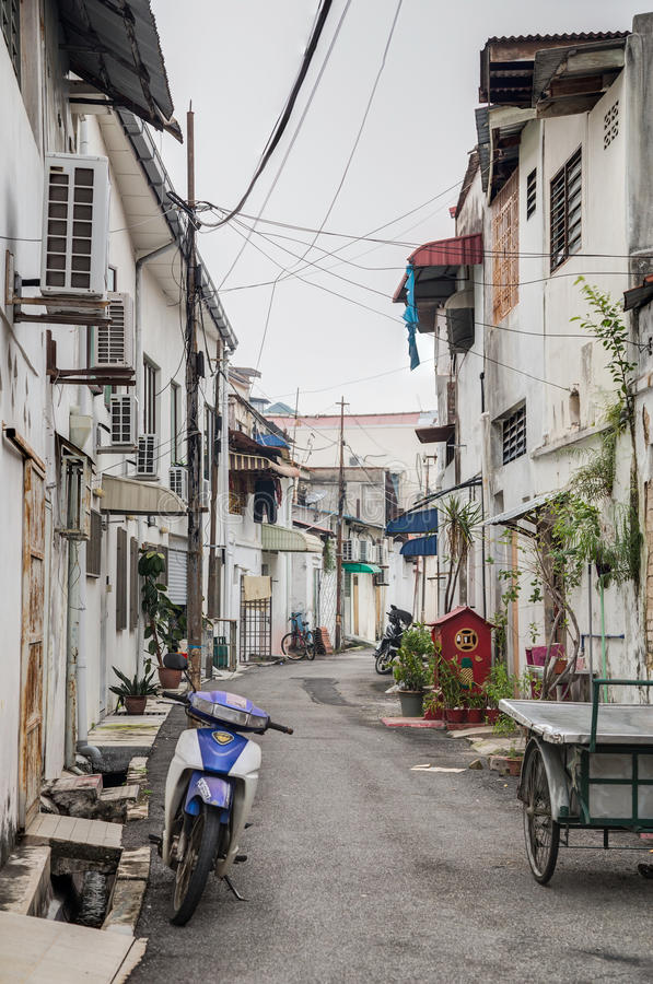 Old streets and architecture of Georgetown, Penang, Malaysia stock images