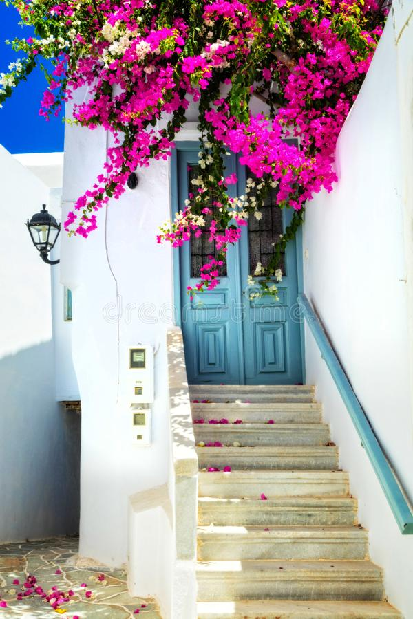 Charming floral streets in Mykonos,Cyclades, Greece stock photo