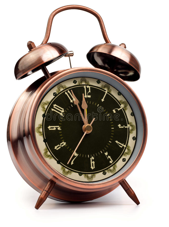 Old Style Alarm Clock On White