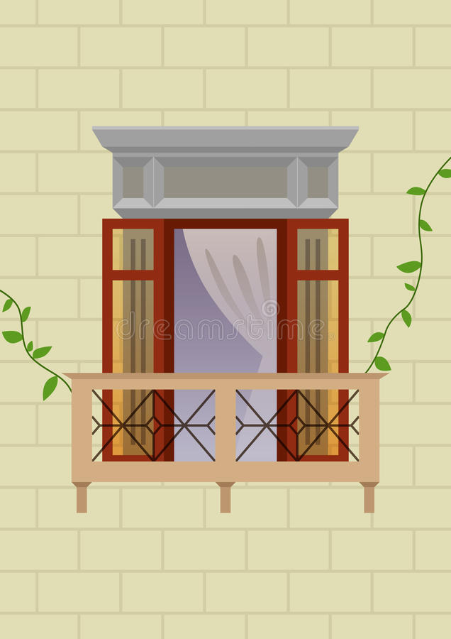 Old Style Balcony. Vector illustration of an old style balcony with vines on the walls royalty free illustration