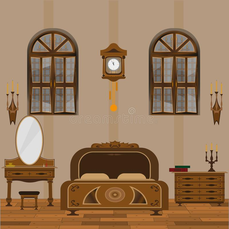 Old style bedroom interior with wooden flooring royalty free illustration