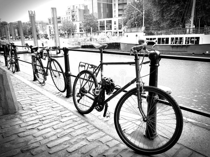 Old style bicycle decoration along the river stock photos