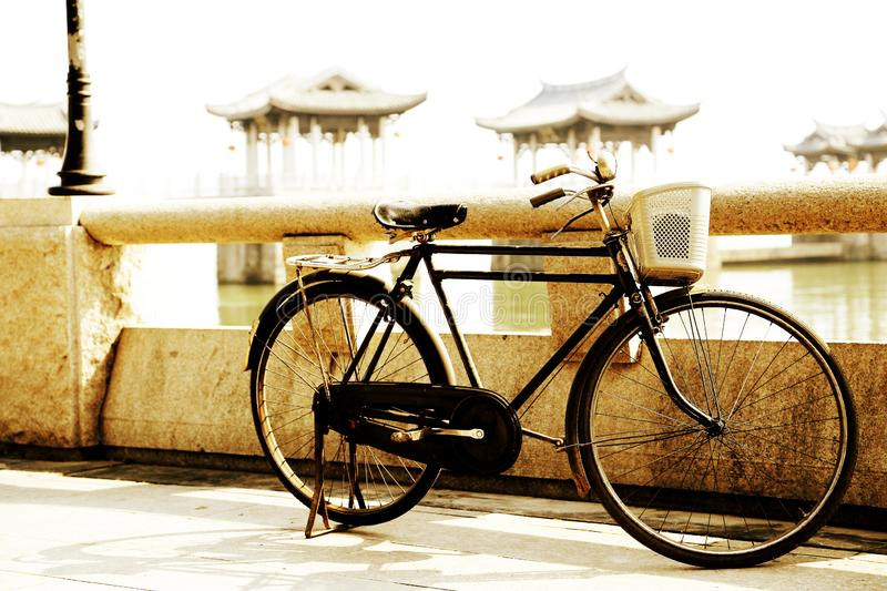 The old style Bicycle on Guangji Bridge royalty free stock image