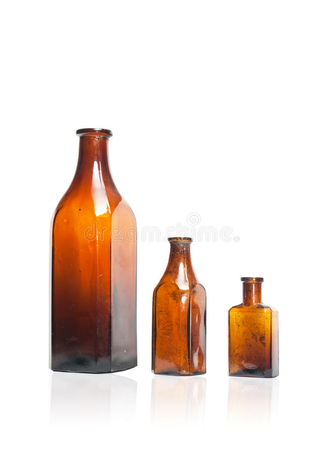 Old style bottles in row stock images