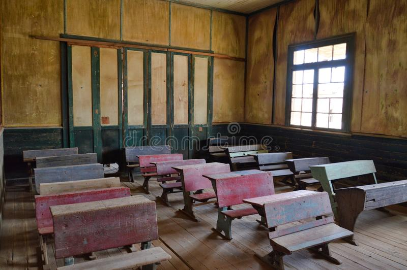 Old style classroom, mining city, Chile stock photos