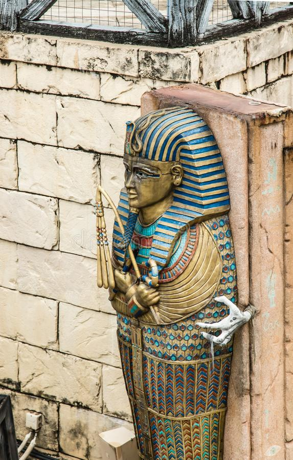Old style colorful Pharaoh coffin display on the wall. Old style colorful Pharaoh coffin display on wall royalty free stock photo