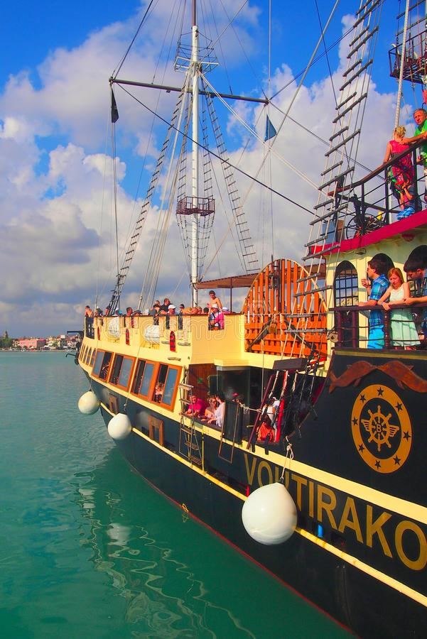Old Style Day Cruise Boat, Zakynthos, Greece stock photo