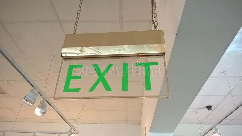 Old-style fire exit sign stock photo