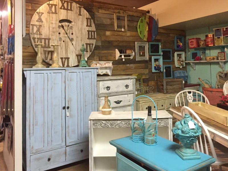 Old style furniture and furnishing selling stock photos