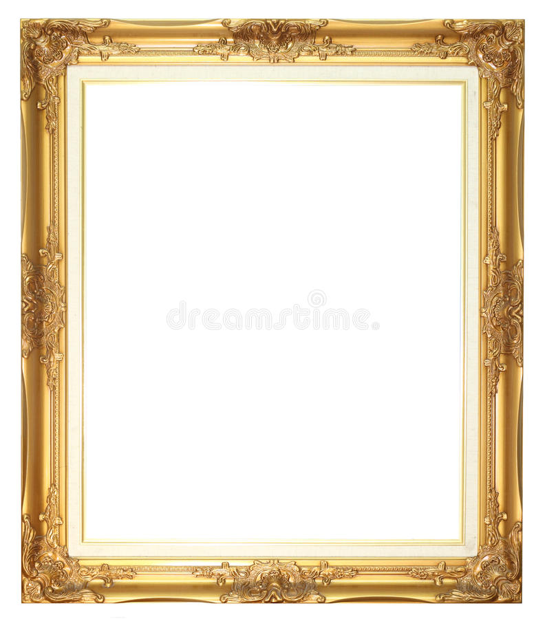 Old style goldern wood frame stock photography