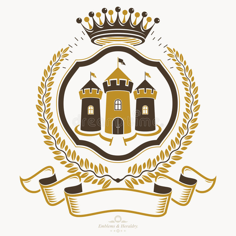 Old style heraldry, heraldic emblem, vector illustration. vector illustration