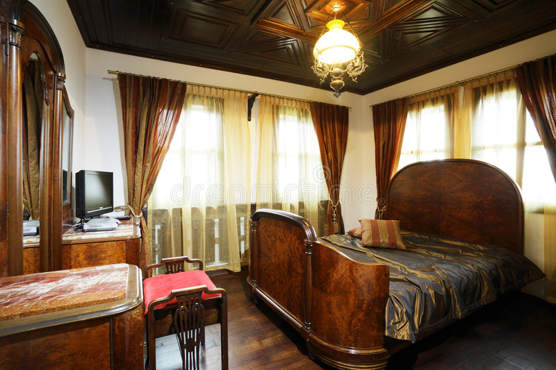 Download Old style hotel bedroom stock photo. Image of decor, antique - 9354026