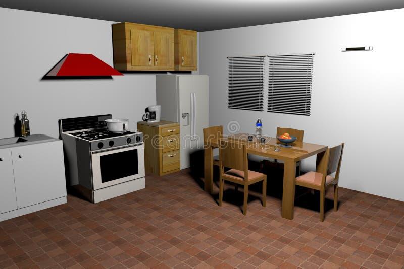 Old style kitchen-3d rendering stock illustration