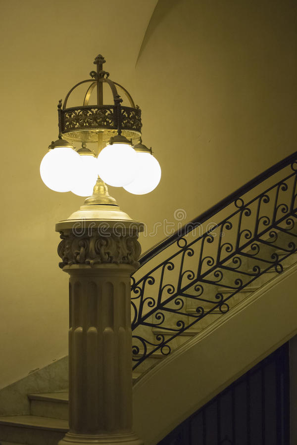 Old Style Lamp and Stair Interior View Building stock image