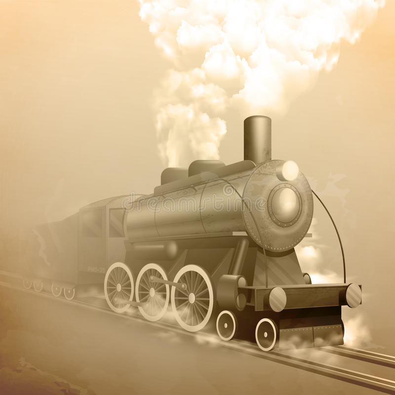 Old Style Locomotive stock illustration