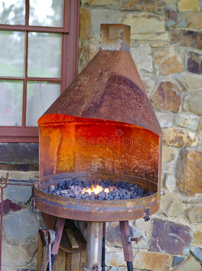 Old style outdoor oven with burning coal. Old style outdoor oven from 19th century with burning coal stock photos