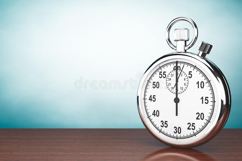 Old Style Photo. Silver Stopwatch. On the table stock image