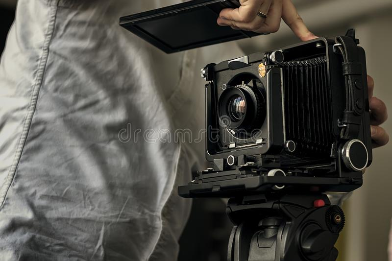 Old style photographic camera item stock photos
