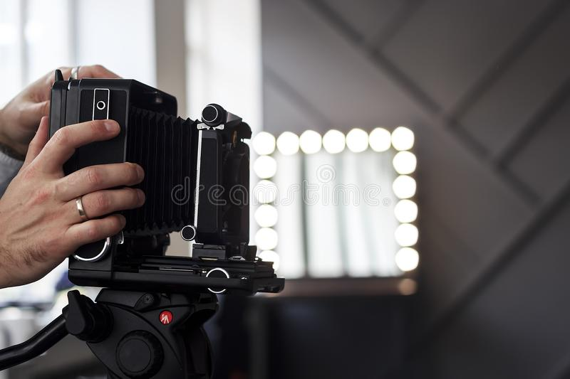 Old style photographic camera item royalty free stock photography