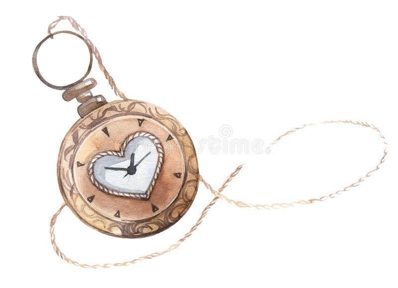 Old style pocket watch. Hand painted watercolor illustration. vector illustration