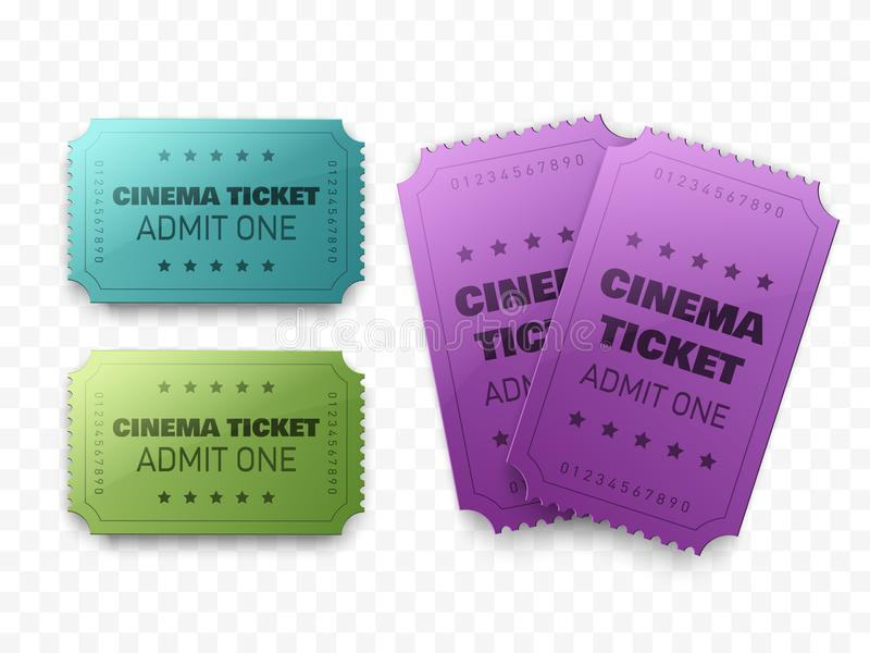 Collection of three cinema tickets isolated on white. Movie posters or flyers. Vector illustration. royalty free illustration