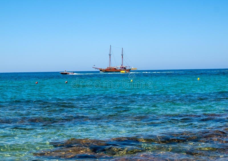Old Style Sail Boat near Malia on crete, Geece. stock photo