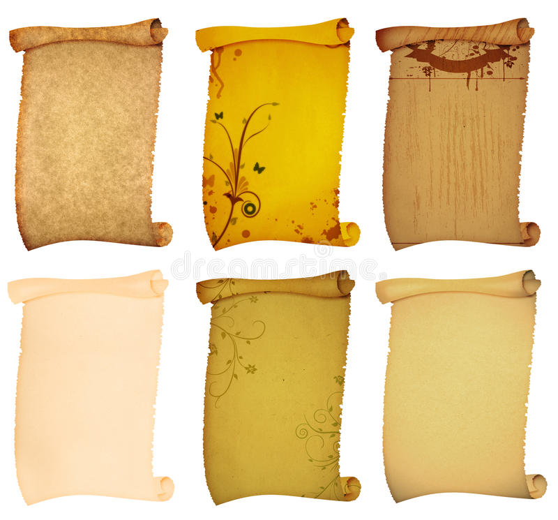 Old style scroll paper backgrounds stock photography