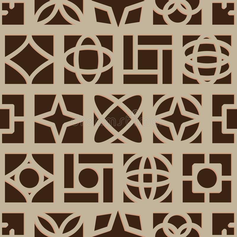 Free Old Style Square Symmetry Brown Seamless Pattern Royalty Free Stock Photography - 103612907