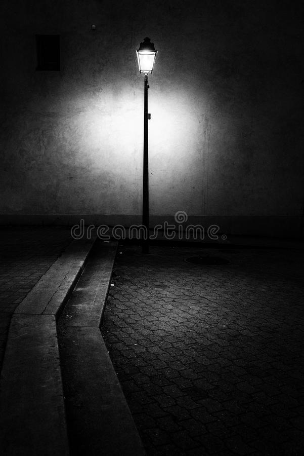 Old style Swiss street light. Stylised imaged of typical , Swiss, old fashioned street light found in Carouge, Canton of Geneva royalty free stock image