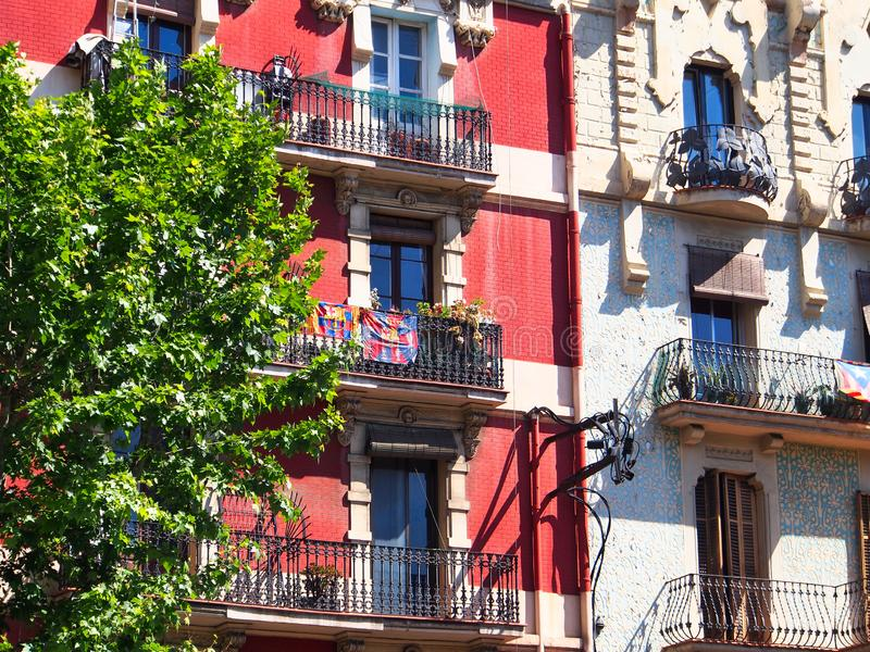 Old Style Traditional Apartment Buildings, Barcelona, Spain stock images