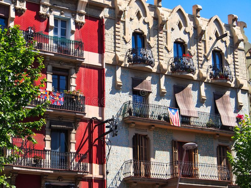 Old Style Traditional Apartment Buildings, Barcelona, Spain stock photo