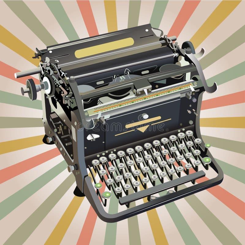Old style typewriter on retro background. Old style vector typewriter on retro background vector illustration