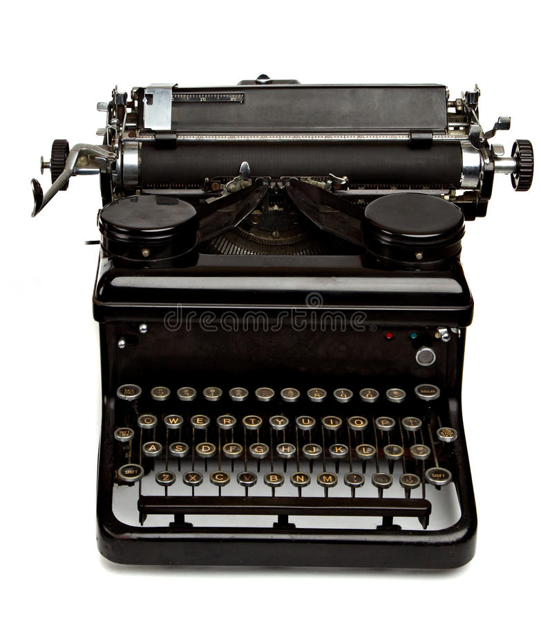 Old Style Typewriter on White stock images