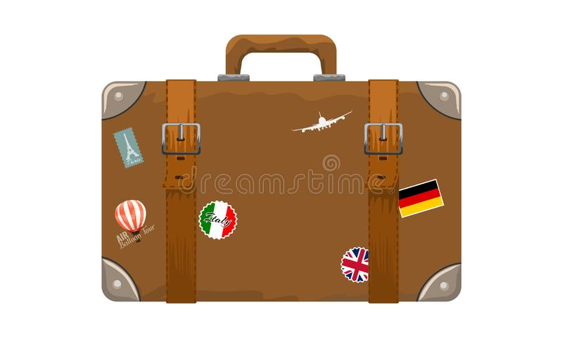 Old style vintage brown voyage suitcase with travel stickers hand drawn cartoon style. Vector illustration. stock illustration