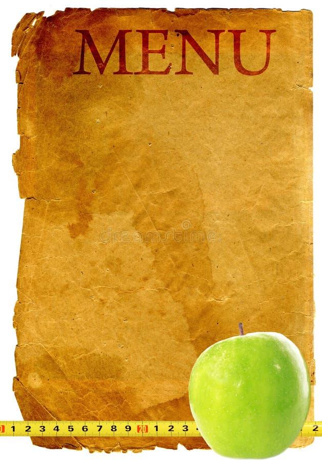 Old style vintage menu with apple. Diet plan - old style vintage menu with apple stock photography