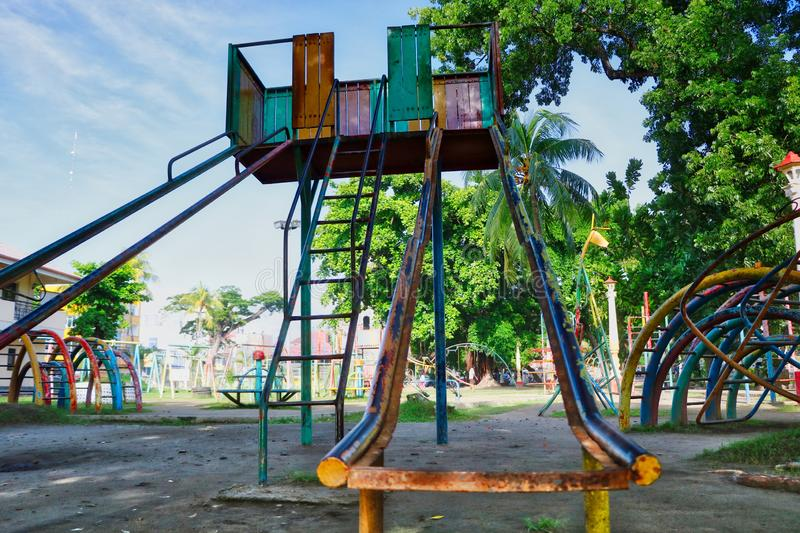 Old style  Vintage  playground slide royalty free stock images