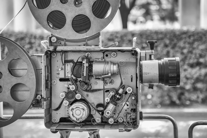 Vintage retro film movie camera. Old style vintage retro film movie camera. Detail royalty free stock image