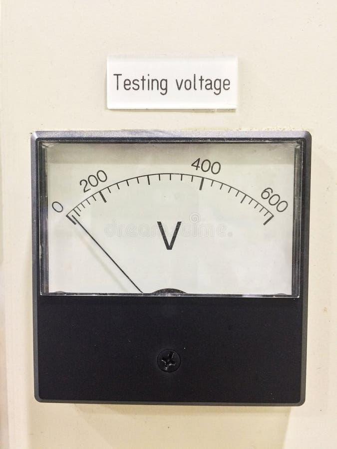 Old style voltmeter gauge. Voltage meter of test room. royalty free stock photos