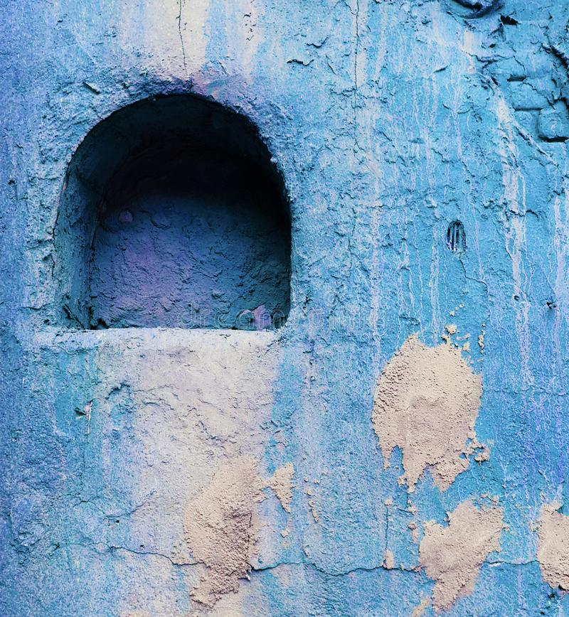 Old style wall decor niche deep blue colored vibrant. Texture stock image