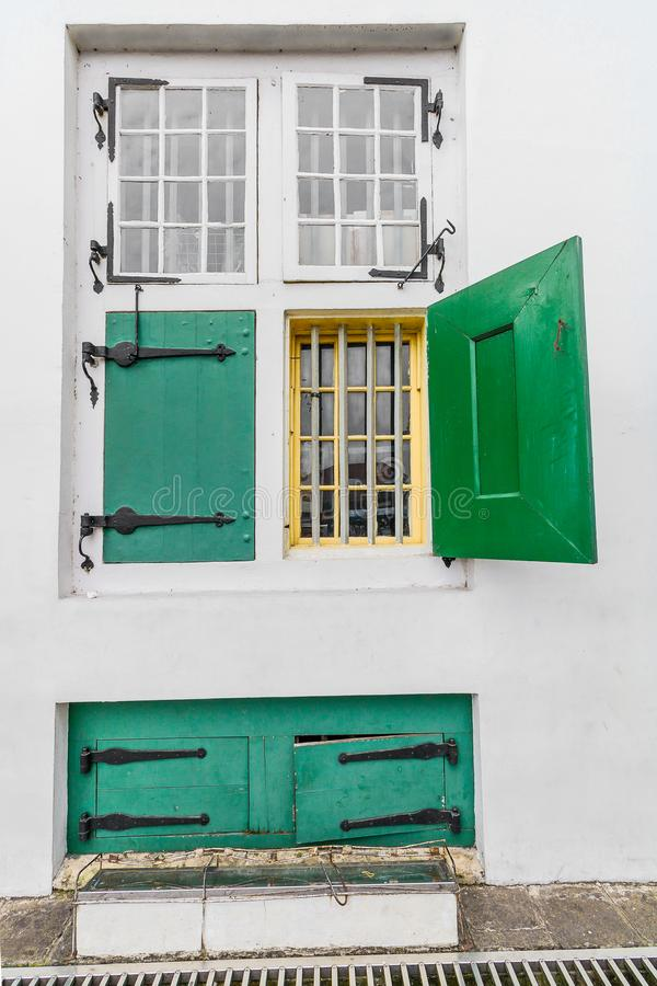 Old Style Window from Dutch Colonialism period, `Governeur Kantoor`/ Governor Office, Old City Tourism Area / Kawasan Wisata Kota stock photo