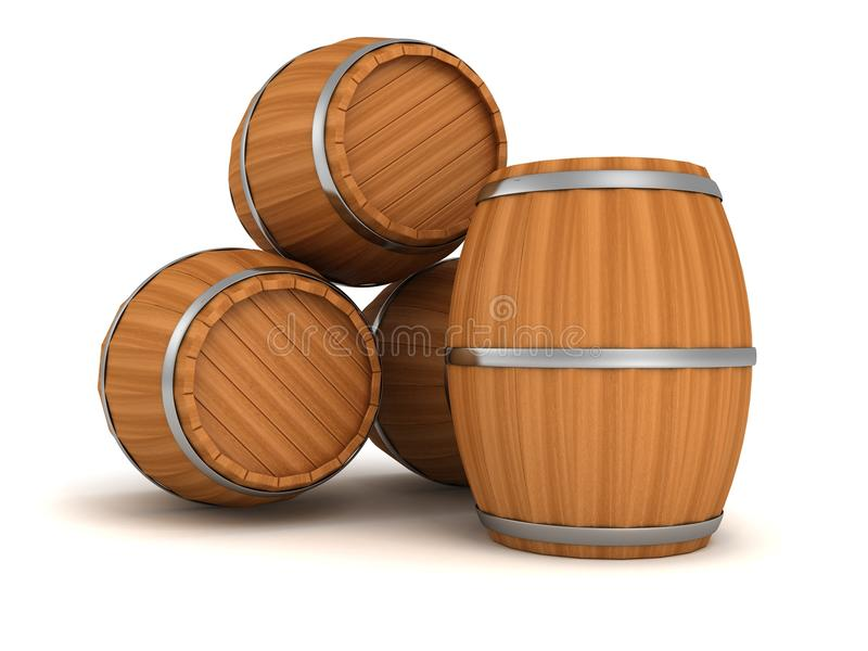 Old style wooden barrels on white background royalty free illustration